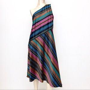 Maggy London One-Shoulder Strip Dress
